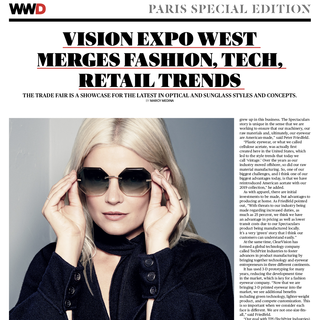 203a813fe1f WWD article on Vision Expo West with feature on Kate Young for Tura